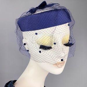 Vintage 40s Navy Halo Hat Net Whimsy Birdcage 50s